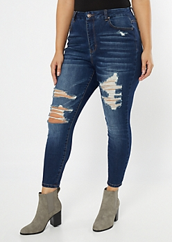 Plus Ultimate Stretch Dark Wash Distressed Curvy Jeggings