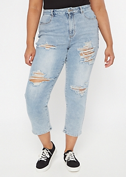 Plus Ultimate Stretch Light Wash Curvy Mom Jeans