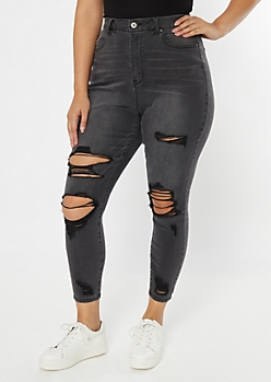 Plus Ultimate Stretch Gray Ripped Curvy Jeggings