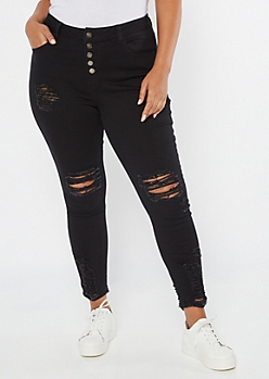 Plus Black High Waisted Button Fly Ripped Ankle Jeggings