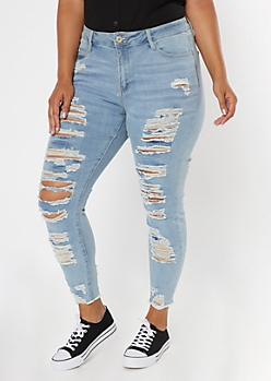 Plus Light Wash High Waisted Destroyed Skinny Jeans