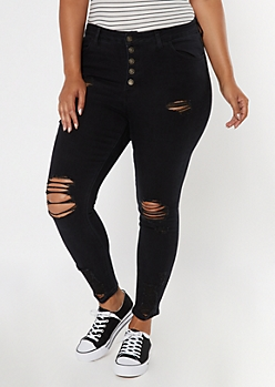 Plus Ultimate Stretch Black Ripped Button High Waist Jeggings