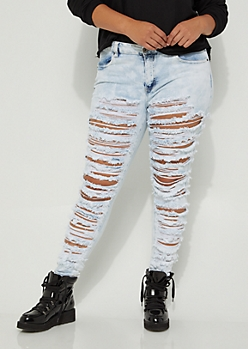 Plus Slashed & Frayed Jeggings in Regular