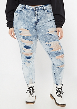 Ultimate Stretch Acid Wash Distressed Jeggings