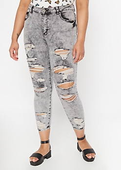 Plus Ultimate Stretch Gray Acid Wash Distressed Ankle Jeggings