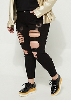 Plus Black Blown Out Mid Rise Ankle Jeggings