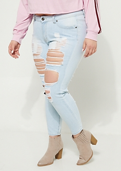 Plus Light Wash Mid Rise Destroyed Jeggings in Regular