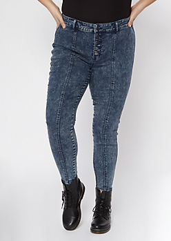 Plus Dark Acid Wash Exposed Button Sewn Pleat Skinny Jeans