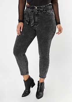 Plus Black Paperbag Waist Tie Belt Skinny Jeans