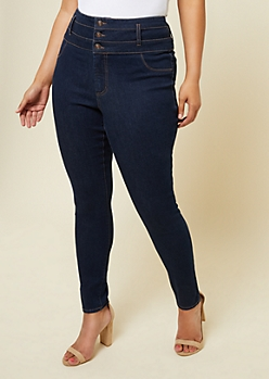 Plus Dark Rinse Triple Button Ankle Jeggings