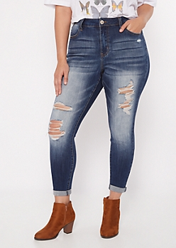 Plus Dark Wash High Rise Torn Rolled Ankle Jeggings