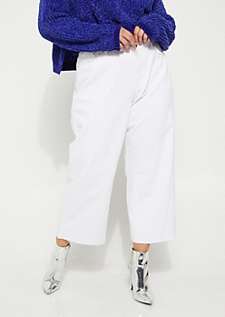Plus White High Waisted Wide Leg Cropped Jeans