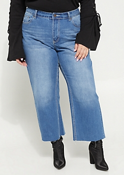 Plus Light Blue High Rise Wide Leg Jeans