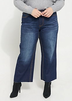 Plus Dark Blue High Rise Wide Leg Jeans