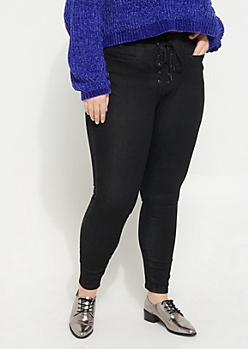 Plus Black High Rise Lace Up Ankle Jeggings