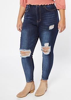 Plus Dark Wash Ripped Knee Curvy Jeans