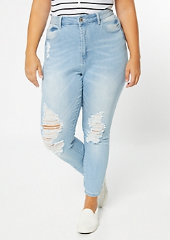 Plus Light Wash High Waisted Curvy Ankle Jeggings