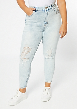 Plus Light Acid Wash High Waisted Curvy Ankle Jeggings