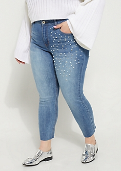 Plus Pearly High Rise Ankle Jeans