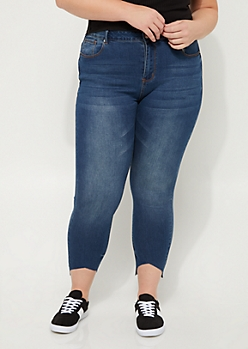 Plus Cutout High Rise Ankle Jeggings