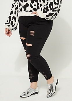 Plus Black High Rise Destroyed Cuff Jeggings
