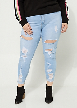 Plus Vintage Wash High Waisted Distressed Cuffed Jeggings