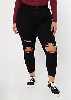 Plus Ultimate Stretch Black Distressed Curvy Jeans