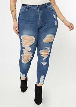 Plus Ultimate Stretch Dark Wash Distressed Ankle Jeggings