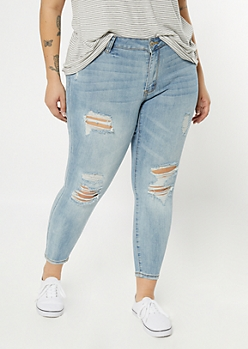 Plus Ultimate Stretch Light Wash Ripped Knee Jeggings
