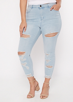 Plus Ultimate Stretch Light Wash Distressed Ankle Jeggings