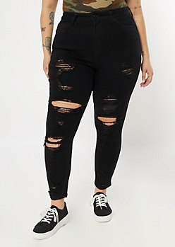 Plus Ultimate Stretch Black Distressed Ankle Jeggings