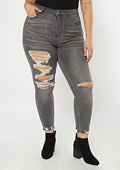 Plus Ultimate Stretch Gray Raw Cut Ankle Jeggings