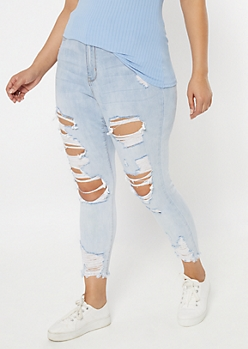 Plus Light Wash Destructed High Rise Curvy Jeggings