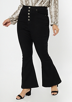 Plus Black Exposed Button Fly Flare Jeans
