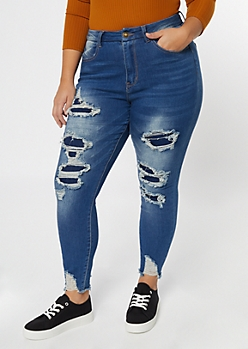 Plus Medium Wash Ripped Curvy Ankle Jeggings