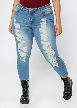 Plus Ultimate Stretch Medium Wash Ripped Ankle Jeggings