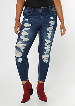 Plus Ultimate Stretch Dark Wash Ripped Ankle Jeggings