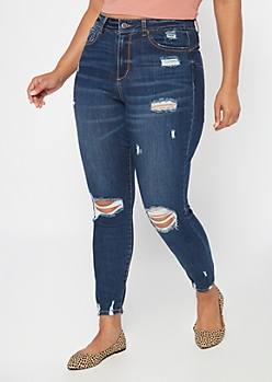 Plus Dark Wash High Waisted Ripped Curvy Skinny Jeans