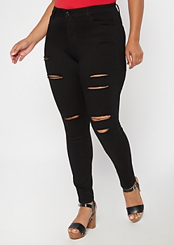 Plus Black High Waisted Ripped Jeggings