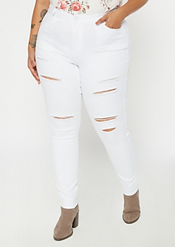 Plus White High Waisted Ripped Jeggings