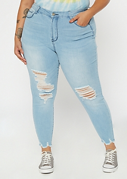 Plus Light Wash High Waisted Ripped Ankle Jeggings