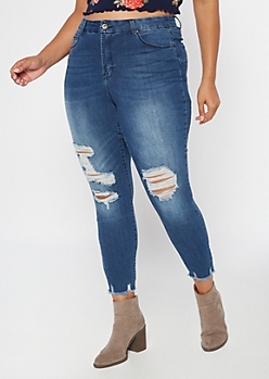 Plus Medium Wash High Waisted Ripped Ankle Jeggings
