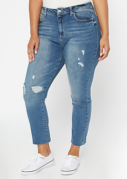 Plus Medium Wash High Waisted Raw Hem Mom Jeans