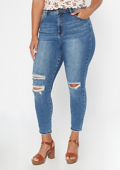 Plus Medium Wash High Waisted Ripped Curvy Jeggings