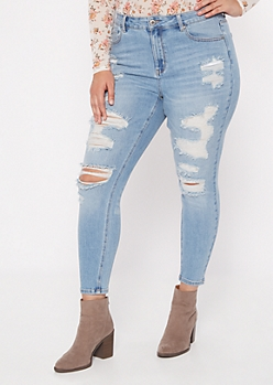 Plus Light Wash High Rise Destructed Jeggings