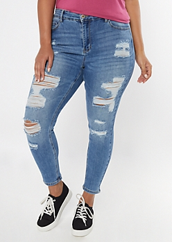 Plus Medium Wash High Rise Destructed Jeggings