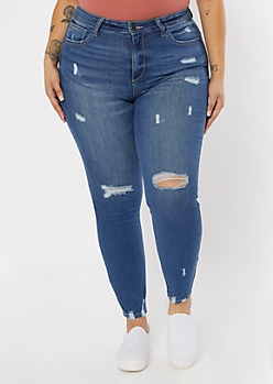 Plus Medium Wash Distressed Ankle Booty Jeans