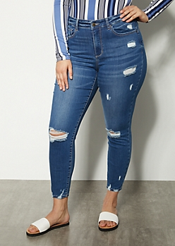 Plus Medium Wash High Waisted Booty Jeans