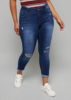 Plus Dark Wash Rolled Hem Cropped Booty Jeans