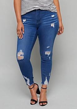 Plus Medium Wash Frayed Raw Hem Booty Jeans